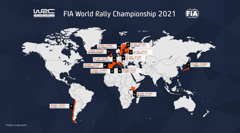 2021 FIA World Rally Championship calendar